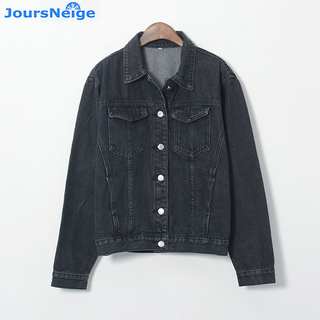 JoursNeige Denim Jacket Women Fashion Vintage Long Sleeve Black Jean