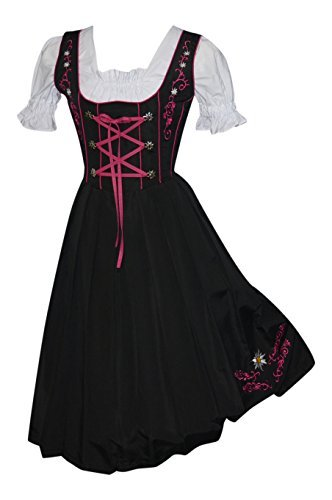 Edelweiss Creek 3-Piece Long German Oktoberfest Dirndl Dress, Black