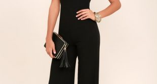 Sexy Off-the-Shoulder Jumpsuit - Black Wide-Leg Jumpsuit