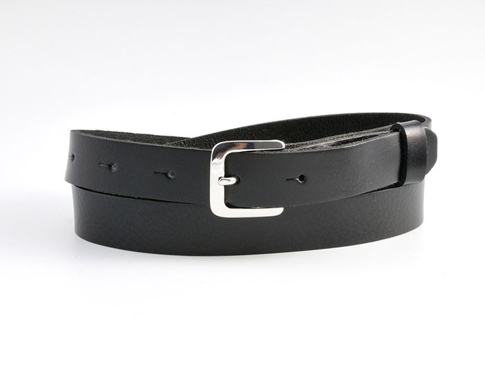 Black leather belt, one inch silver OR gold buckle UK - OnceUponaBelt