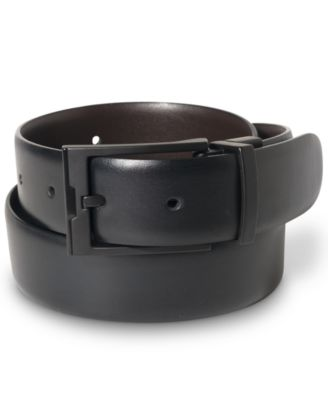 Perry Ellis Portfolio Men's Matte Black Reversible Buckle Leather