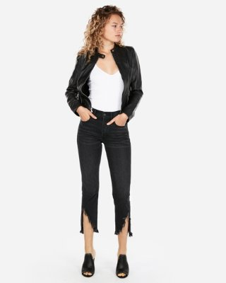 minus The) Leather Quilted Moto Jacket | Express