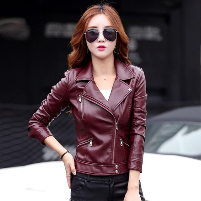 leather jacket women short design motorcycle leather jackets slim