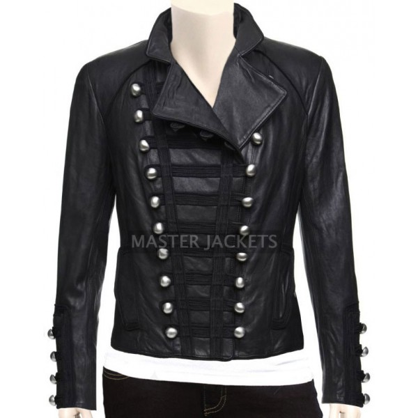 Military Leather Jacket in Black Color for Women