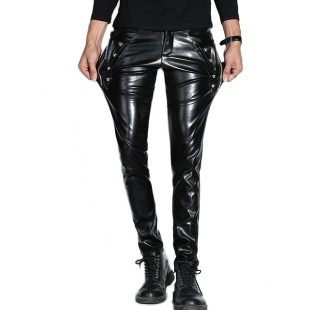 Fashion Cool Men`s Faux Leather Pants Zippers Party Halloween Punk