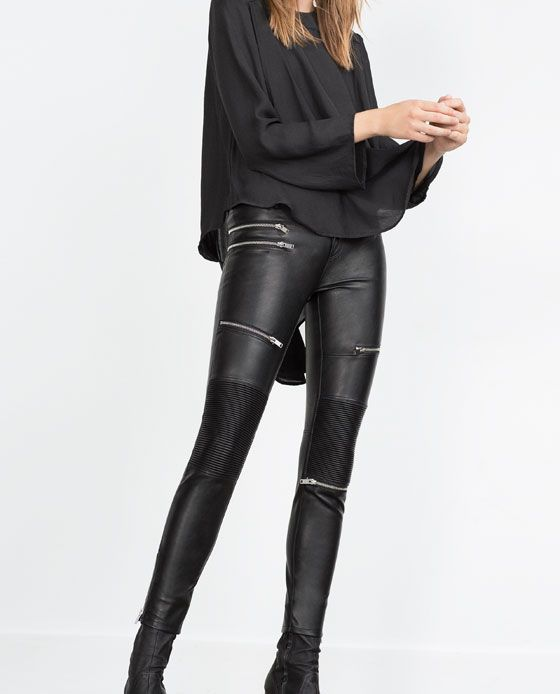 FAUX LEATHER BIKER TROUSERS from Zara | ZARA | Leather trousers
