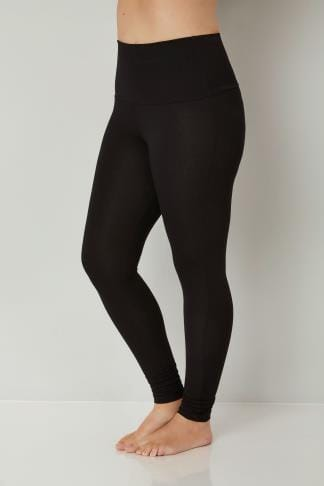 Black TUMMY CONTROL Soft Touch Leggings Plus Size 16 to 36