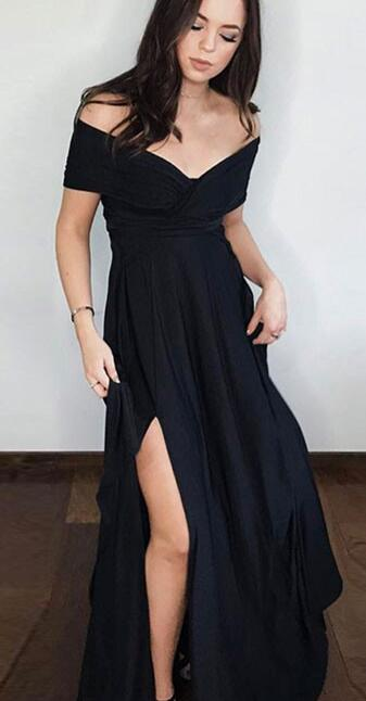 Off the shoulder Black Long Prom Dress with Slit · modseleystore