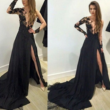 A-Line Long Sleeves Black Chiffon Prom Dress with Appliques Split