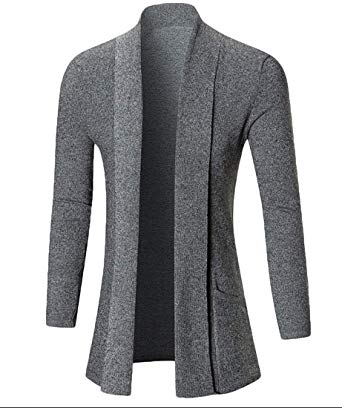 Generic Men's Cardigans Long Sleeve Slim Fit Open Front Shawl Collar