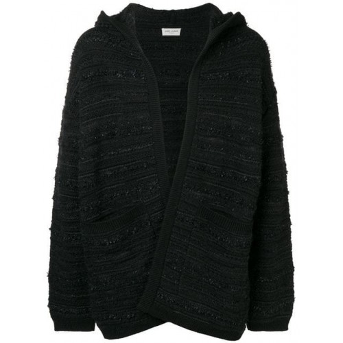 Saint Laurent hooded cardigan 1000 BLACK Wool 76% Men's Cardigans