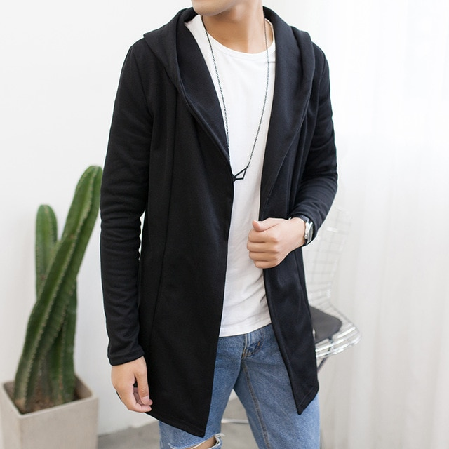 Men Autumn Hooded Long Sweatercoat New Fashion Men Cardigan Casual