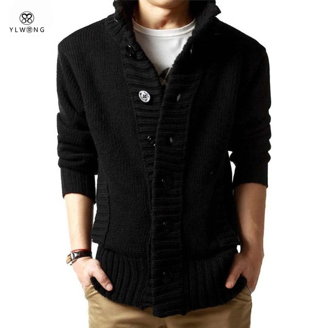Winter Men Cardigan Sweaters Famous Brand Black XXL Casual Mens