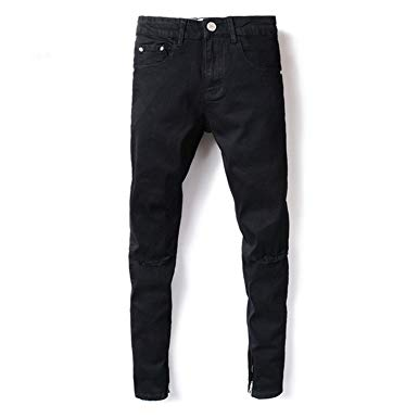 Phillip Dudley Fashion Streetwear Mens Jeans Knee Hole Black Color