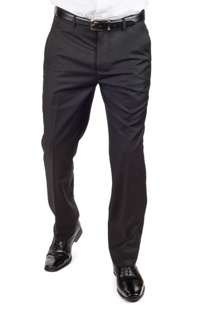 Slim Tailored Fit Solid Black Men's Dress Slacks Pants Flat Front by