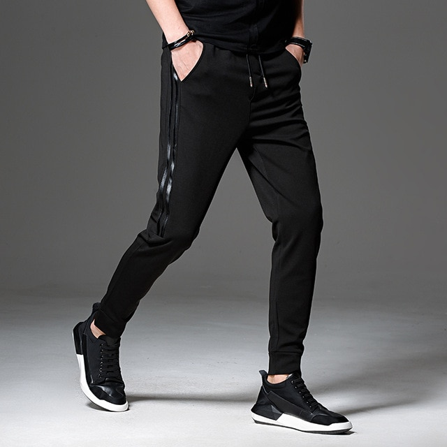 2018 New Black Men Pants Casual Mens Joggers Pant Fashion Slim Fit