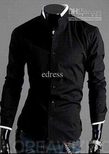 2019 Men Black Shirt Men's Handsome Shirt High Collar Mens Shirts