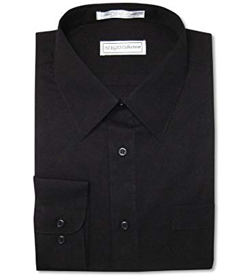 Biagio Men's 100% Cotton Solid Black Color Dress Shirt w/Convertible