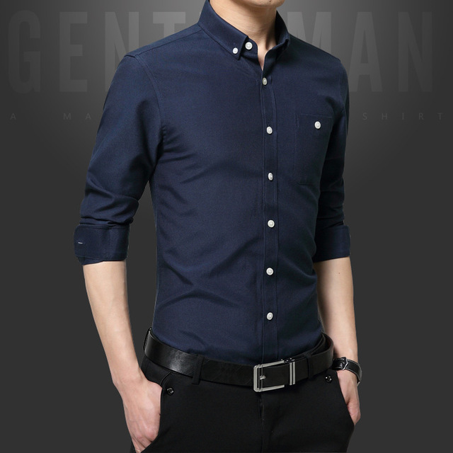 New Fashion Casual Men Shirt Long Sleeve Slim Fit Black Shirt Men