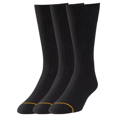 Men's Big & Tall Signature Gold 3pk Dress Socks Bamboo Rayon Black