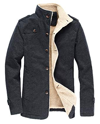 HOW'ON Men's Winter Fleece Casual Cotton Jacket Military Cargo