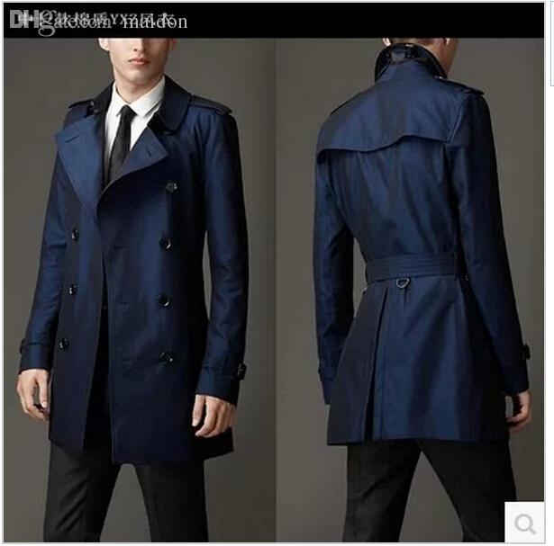 2019 Fall Blue Khaki Double Breasted Long Black Trench Coat Men