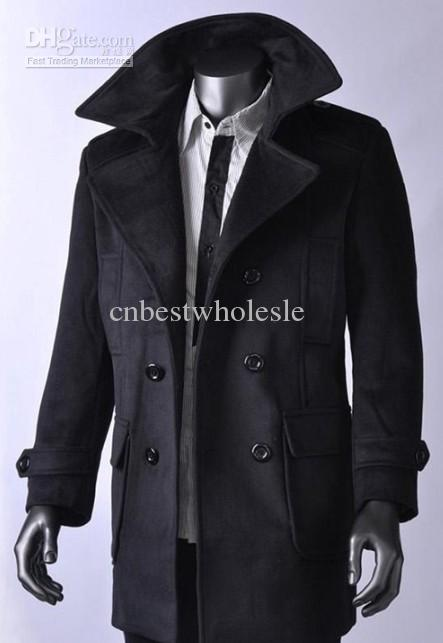 2019 Mens Winter Double Breasted Coats Fashion Men Woolen Grey Black