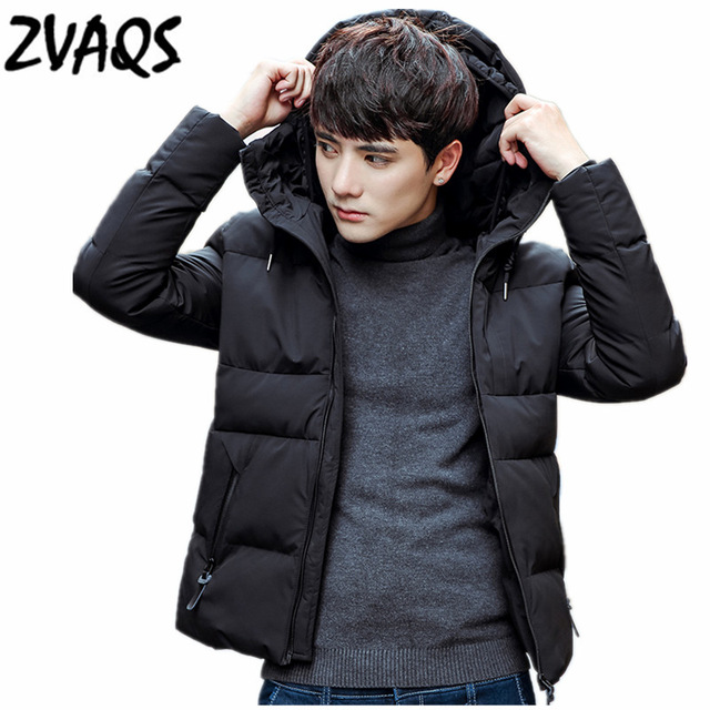 ZVAQS Hot Sale 2018 Korean Version Black Parkas Hombre Invierno