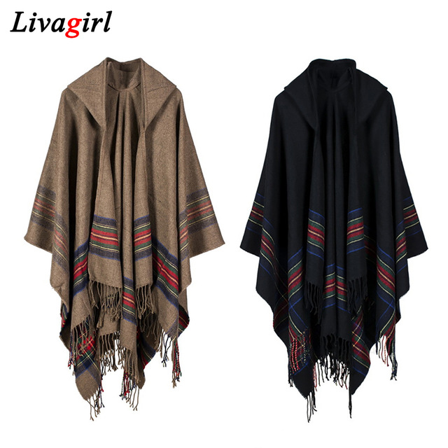 Women Winter Ponchos And Capes Oversize Hooded Black Shawl And Wraps