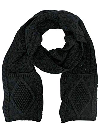 Black Classic Knit Unisex Winter Scarf With Pockets at Amazon