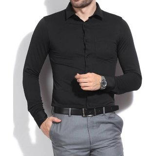 Buy Tom T Men's Solid Casual Black Shirts Online - Get 62% Off