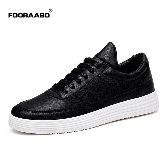 Fooraabo Luxury Brand Men Shoes Leather Casual Black Shoes Mens