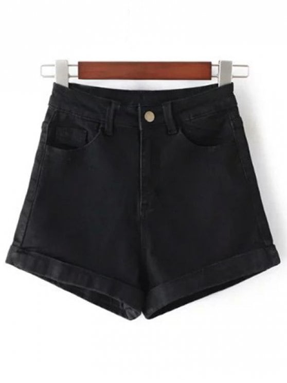 24% OFF] 2019 High-Rise Denim Shorts In BLACK 28 | ZAFUL