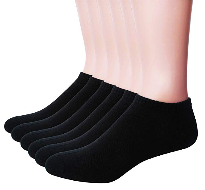 Men's Ankle Cotton Socks Black - Everyday Low Cut No Show Socks 6