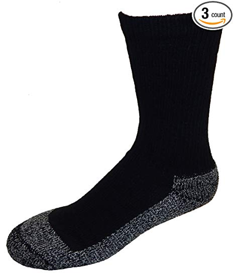 Amazon.com : Cushees Men's BLACK (3-pack) Triple Thick Crew Socks