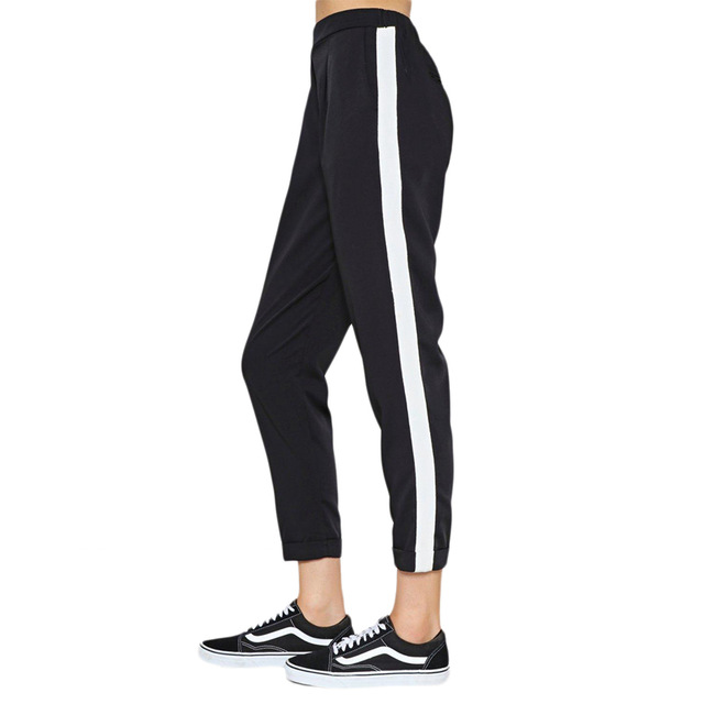 White side strip black stretch waist boyfriend cropped pants for