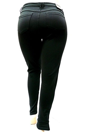 1826 Faux Leather Black Stretch Women's PLUS SIZE SKINNY Ponte/PU