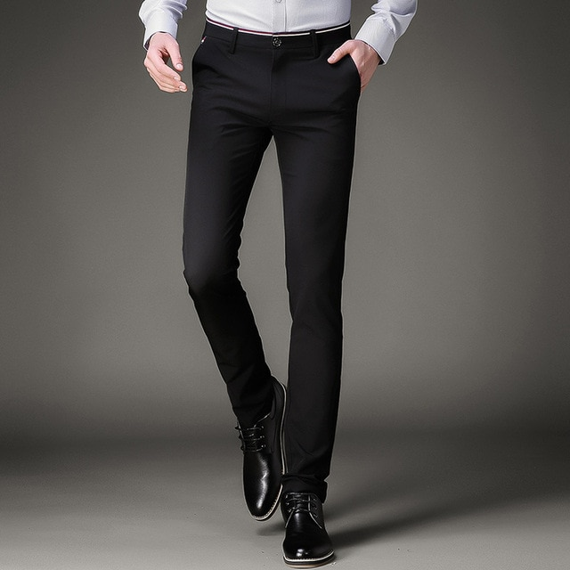 Jbersee Mens Black Dress Pants Formal Pants Slim Fit Wedding Men