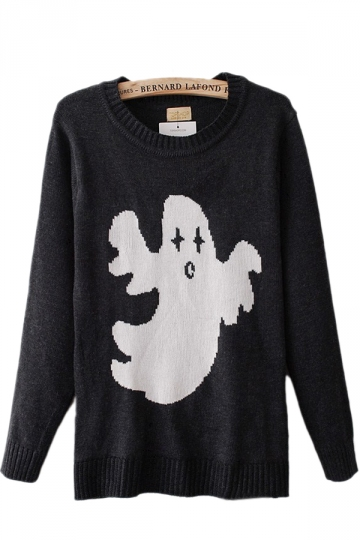 Cute Ghost Black Sweaters Sweater Dresses For Women