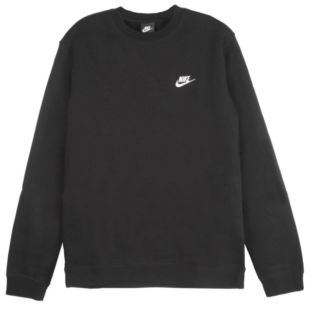 Nike Mens Club Crew Fleece Sweatshirts 804340 Black 010 XL for sale