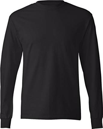 Hanes TAGLESS 6.1 Long Sleeve T-Shirt (Black, XXXL) | Amazon.com