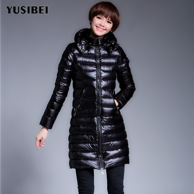 Vintage Classic Black Winter Down Jacket For Women 2018 Warm Parka