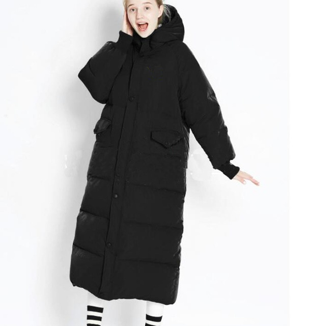Black Oversize X Long Duck Down Coat Women Winter Down Jacket Hooded