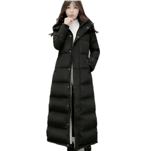 Women's Down Jacket X Long Black Parka Thicken Winter Jacket Women