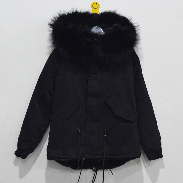 Brand MeiFng black winter women faux fur jacket with big real