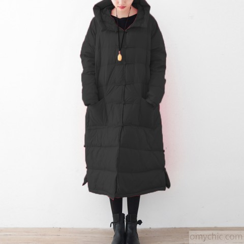 Warm black winter parka trendy plus size quilted coat Fine Chinese
