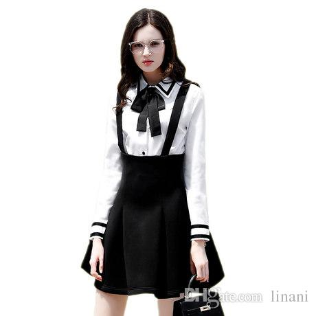 2019 Korean Underwear Blouse Bow Tie Shirt Slim Fit Womens White