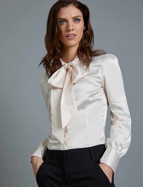 Women's Pussy Bow Blouses & Shirts | Hawes and Curtis
