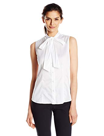 Anne Klein Women's Cotton Bow Blouse at Amazon Women's Clothing store: