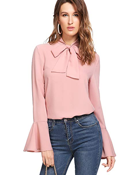 Floerns Women's Bow Tie Long Sleeve Chiffon Blouse Tops at Amazon